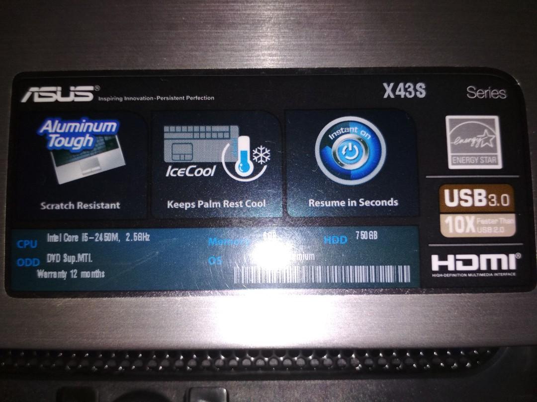ASUS X43S LAPTOP (aluminum tough/ice cool), Electronics