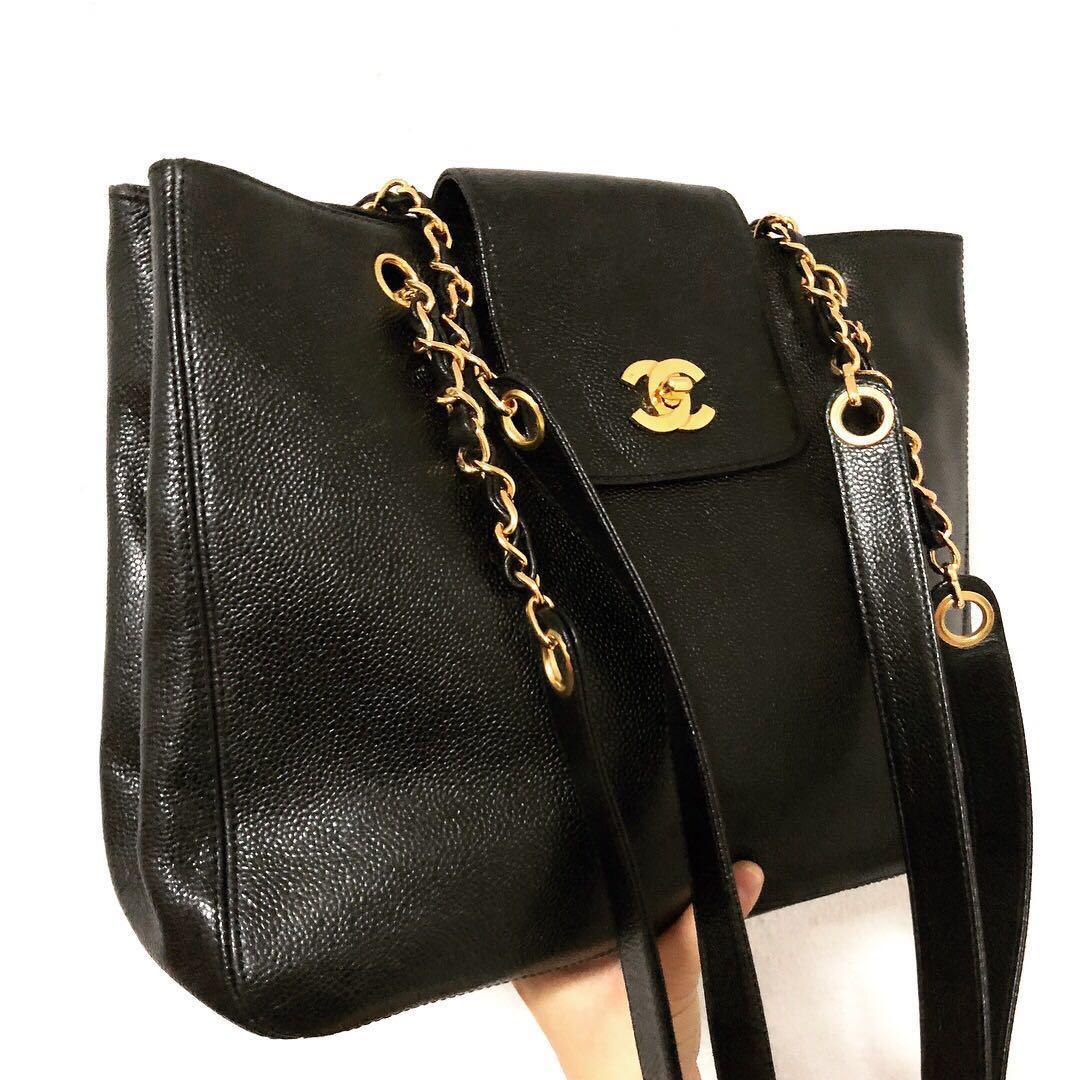 c3b610c98da0 Authentic Chanel Black Caviar A4 Tote with 24k Gold Hardware