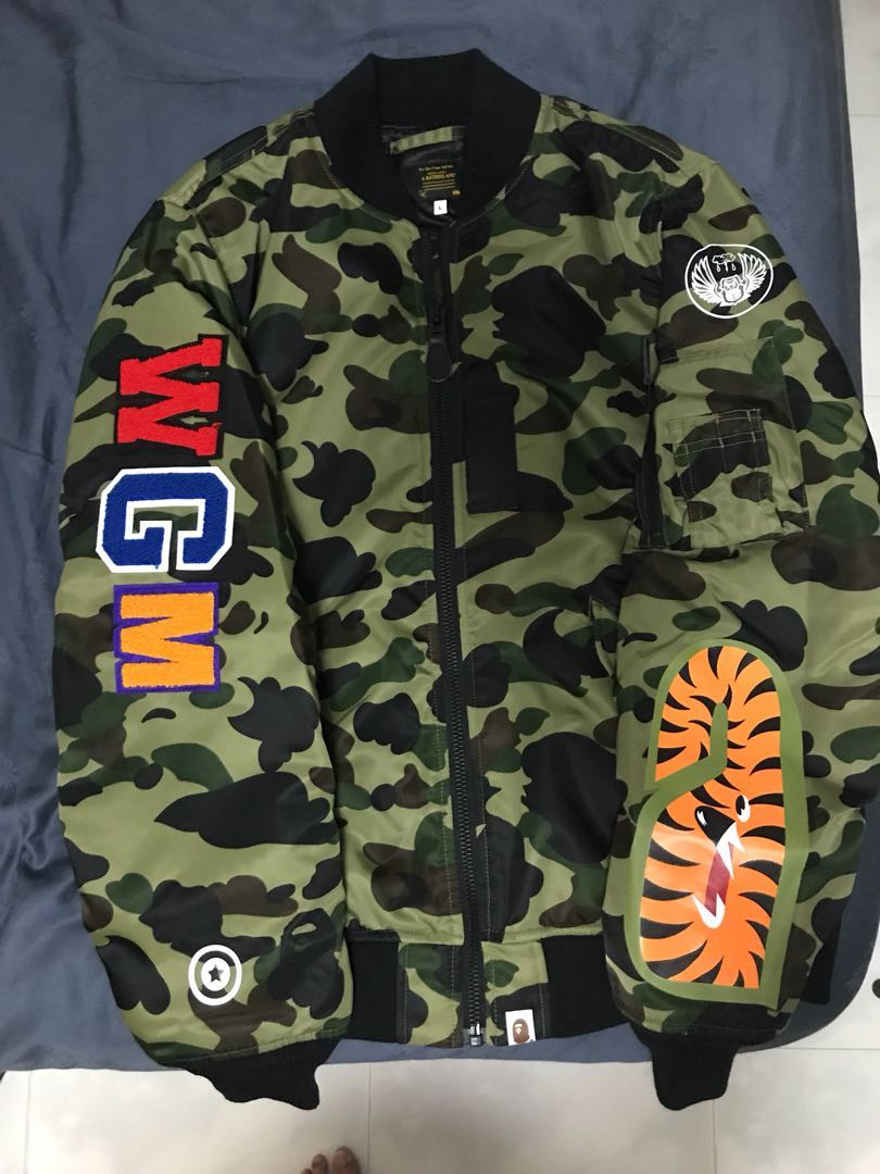 04d7b3ee7c9b Bape 1st Camo Shark MA-1 Bomber jacket