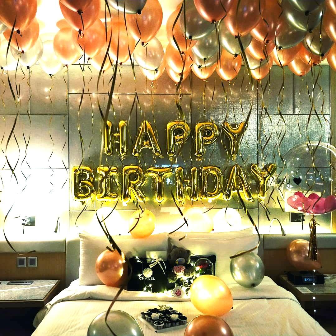 Birthday surprise wedding proposal in hotel room decoration