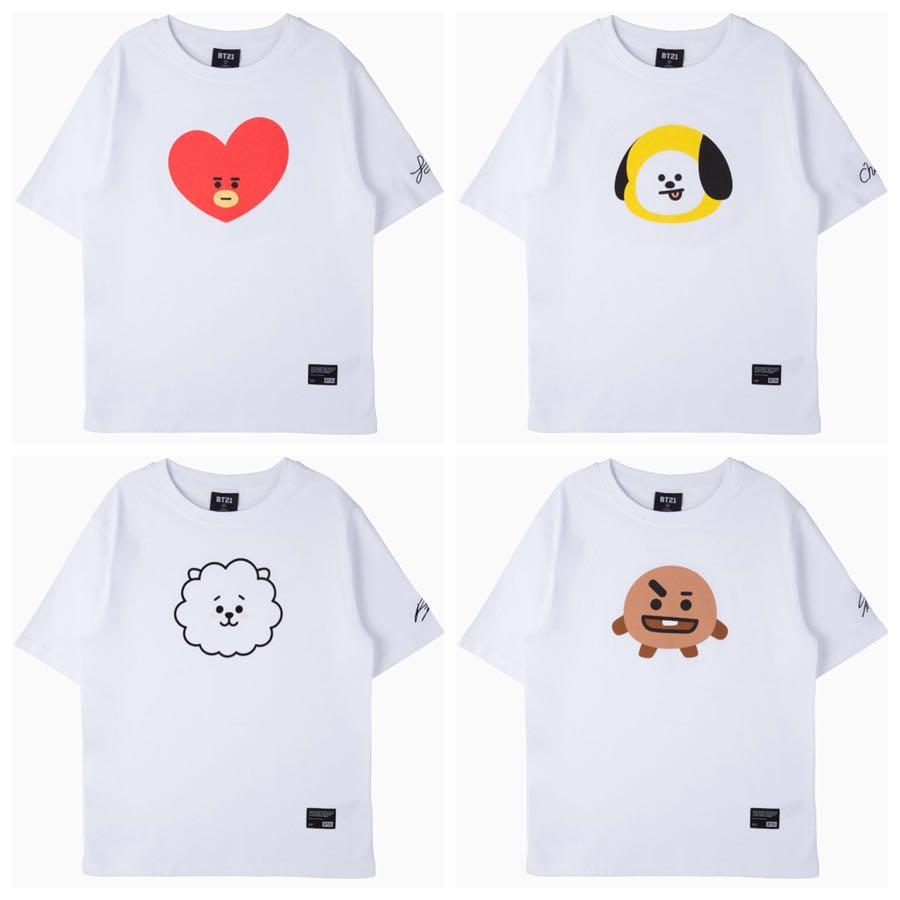 3ac1cd3c3bb5 BT21 Face Graphic T-Shirt Tata ver. ORIGINAL FROM BT21 LINE SEOUL STORE,  Entertainment, K-Wave on Carousell