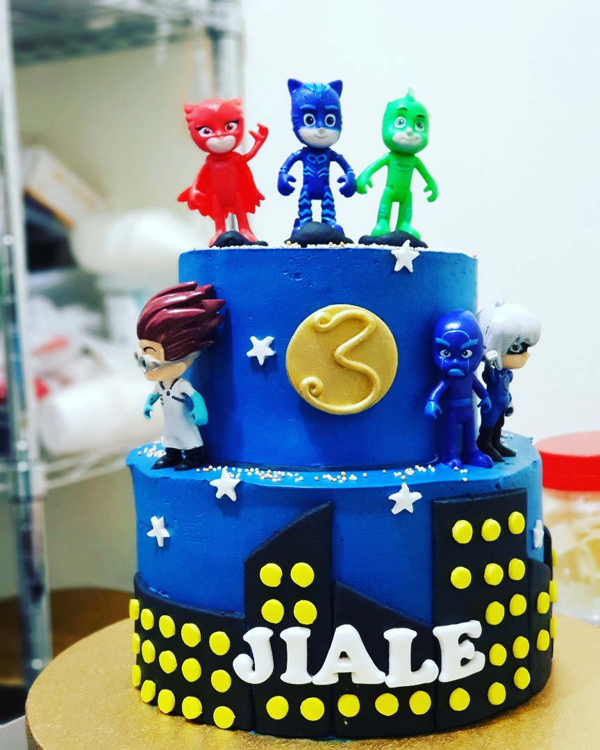 Customised Birthday Cake Pj Mask 2 Tier 6inch 9inch Food