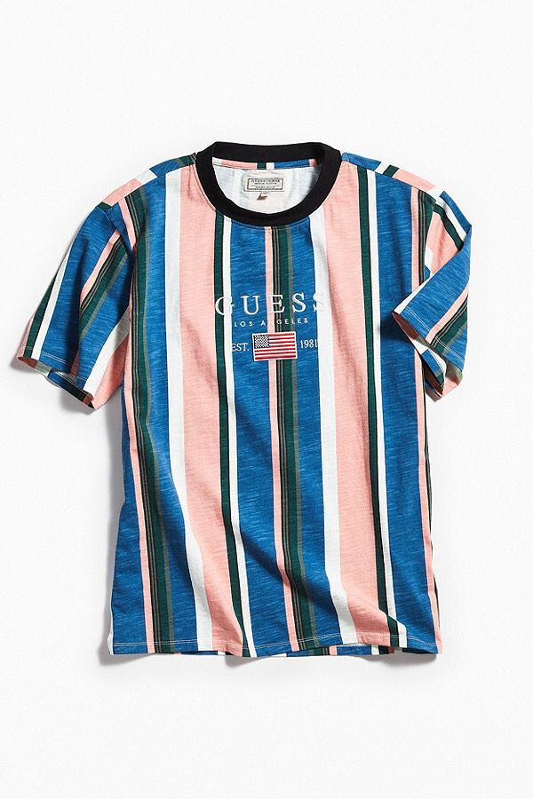 c38284afd4 GUESS David Sayer Stripe Tee, Men's Fashion, Clothes, Tops on Carousell