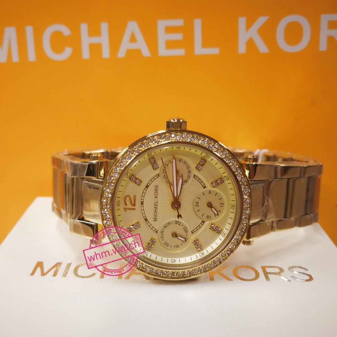 b750e7ba6064 MICHAEL KORS Mini Parker Champagne Glitz Dial Steel Ladies Watch ...