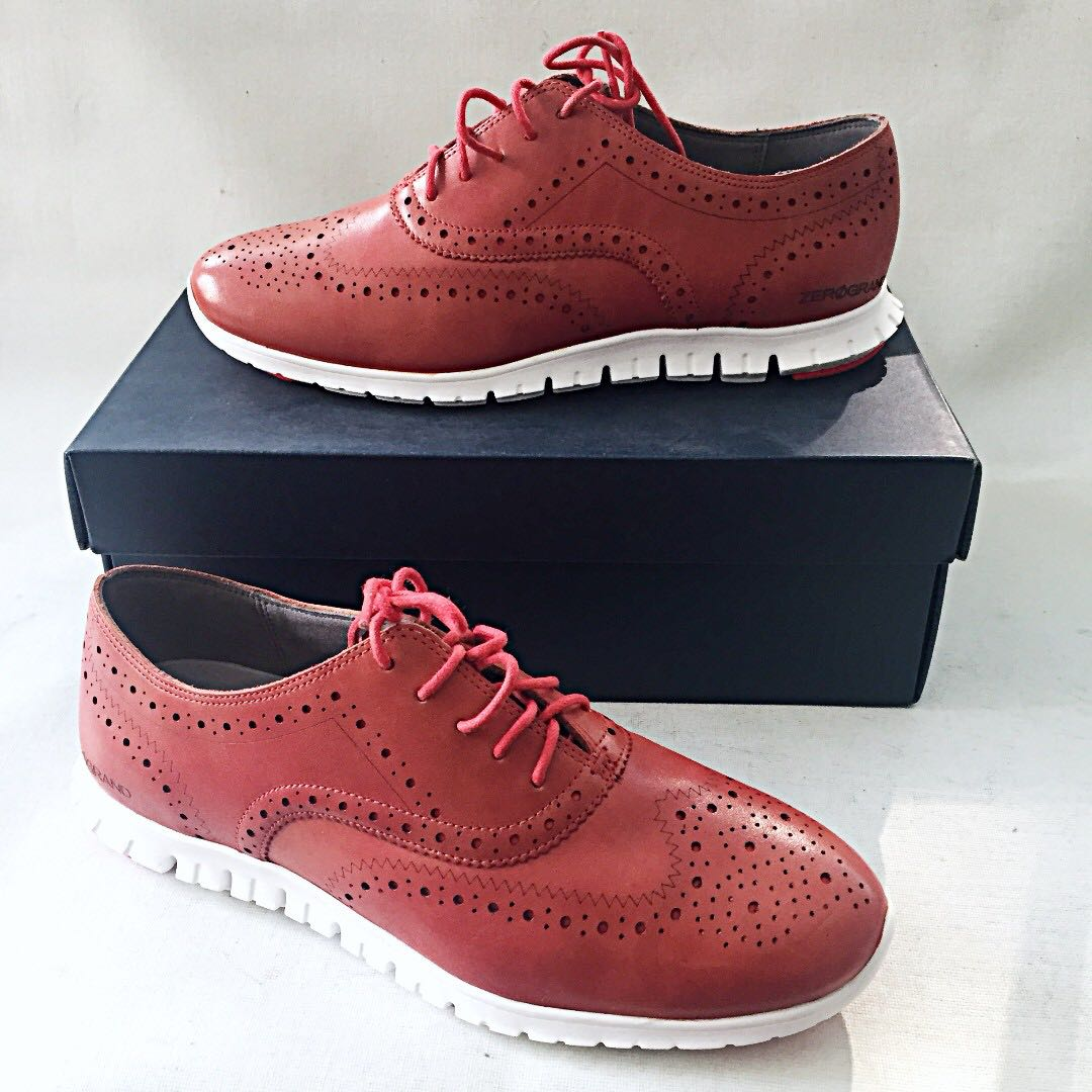 Nib Cole Haan Zerogrand Wing Tip Oxfords Cranberry Red W00944 Us 8c