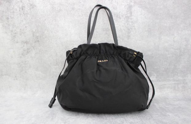 ... release date prada bt0159 black nylon logo jacquard drawstring shoulder  bag preloved womens fashion bags wallets ... 3ee7a14b06920