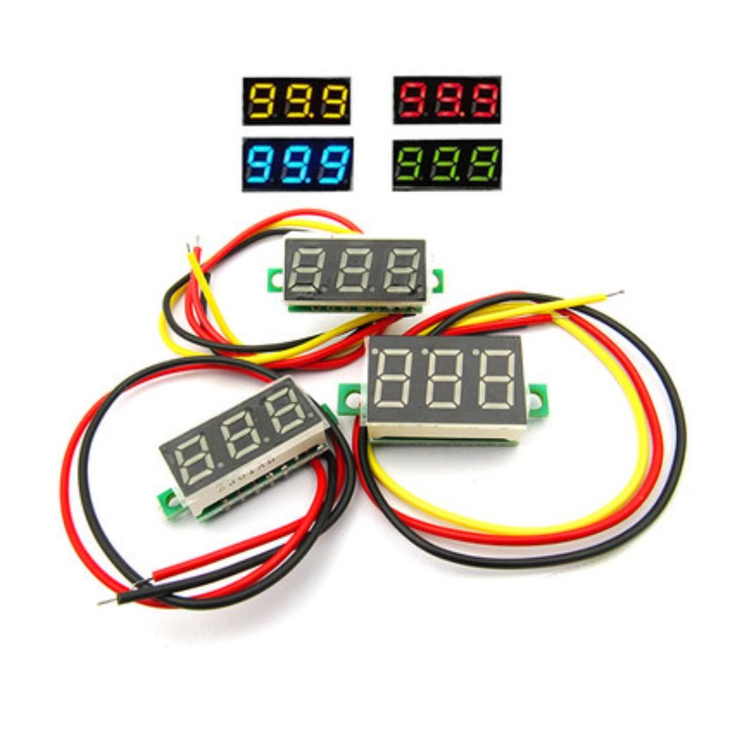 Red LED Digital Display Voltmeter 3-wire 3 Digit Wiring Voltmeter on