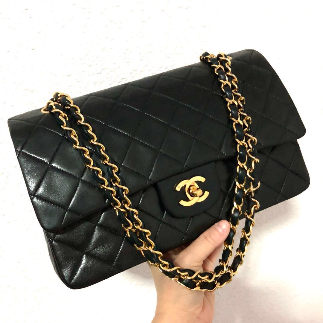 6611130c4d63 RESERVED Authentic Chanel 10 Inch Classic Flap Bag with 24k Gold ...