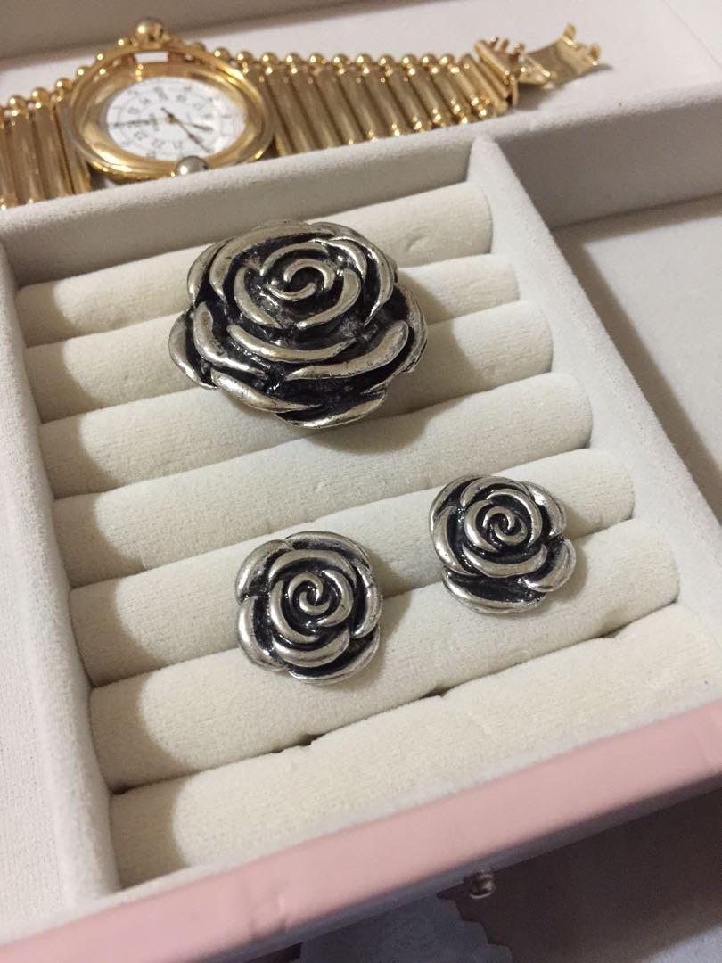 Rose Ring & Earring Set