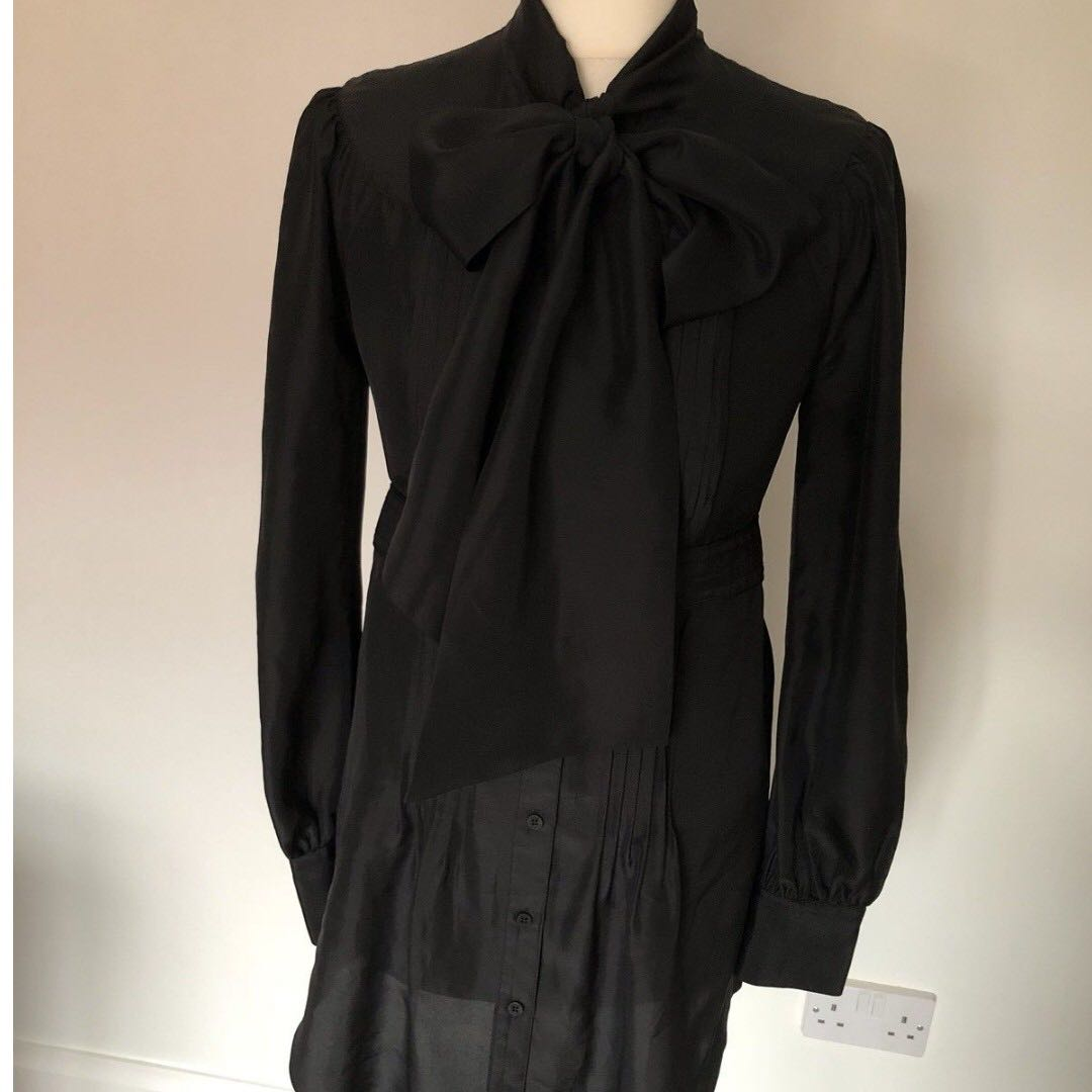 d925d36c1330 Ted Baker pure 100% silk pussy bow shirt dress tunic sz 1 in black ...