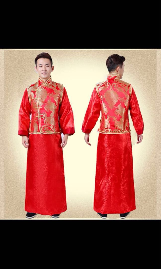 Traditional Chinese wedding suit for groom, Men's Fashion
