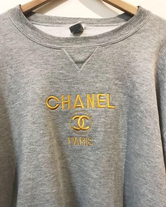 Vintage bootleg chanel sweatshirt in grey GUCCI YSL LV