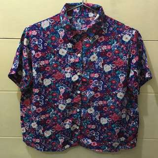 Cropped multi floral design polo