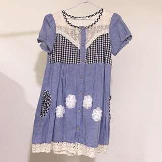 🚚 日系lolita蘿莉塔軟妹森林系 復古蕾絲短袖洋裝 連身裙