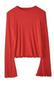 Stradivarius Knitted Shirt with Wavy Trims Red Longsleeves