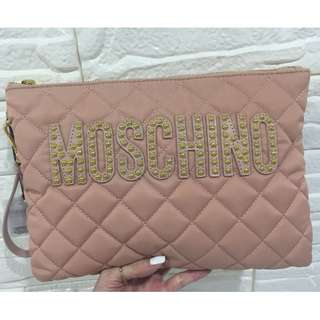 Guaranteed Authentic Brand New Moschino Quilted Studded Clutch