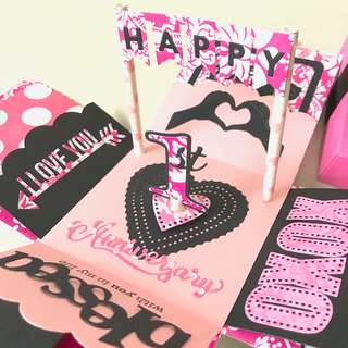Happy 1st Anniversary Pink And Black Explosion Gift Box card