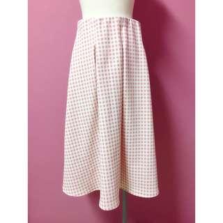 🚚 粉色打摺格紋裙
