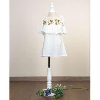2Y-8Y Floral Spaghetti Strap Dress in White