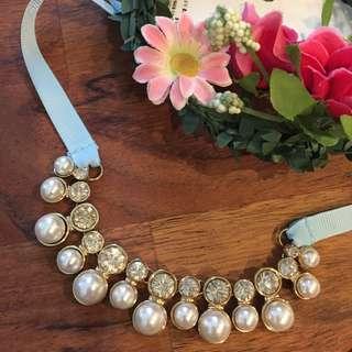 實拍照😍H&M 珍珠拼鑽彩帶項鍊