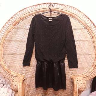 Black lace long sleeved dress