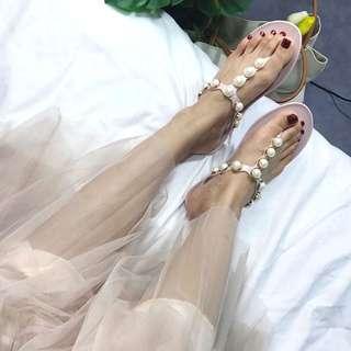 🚚 珍珠T字涼鞋夾腳拖人字拖