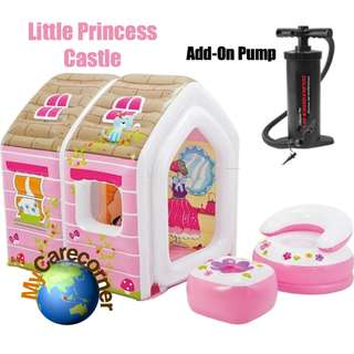 INTEX48635 : My Little princess castles dream play home with mini air sofa stool for girls role playing (With Pump)