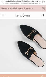 Lenda Chain Link Slip-on Loafers in Black (Brand new, unworn)