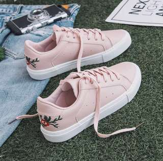 ✨ PINK embroided rose floral canvas sneakers basic lace shoes // instock