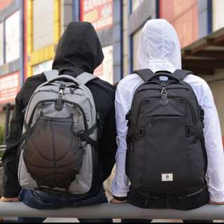Anti theft Backpack with charging port and detachable mesh carrier for Basketball Football - FREE USB wire