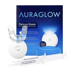 [IN-STOCK] AuraGlow Teeth Whitening Kit, LED Light, 35% Carbamide Peroxide, (2) 5ml Gel Syringes, Tray and Case