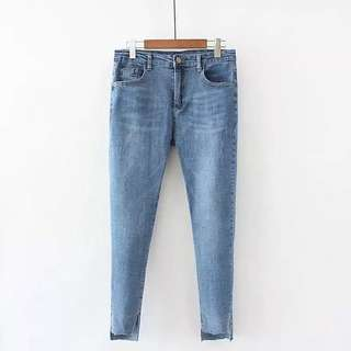 (XL~4XL) Jeans summer thin waist stretch Slim thin light pants open legs feet pants