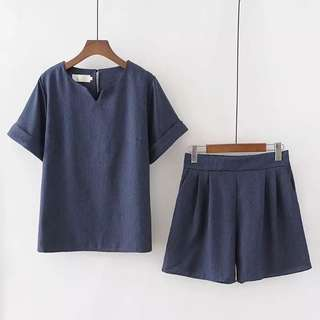 (2XL~5XL) 2018 summer new Korean version of the simple small V-neck short-sleeved T-shirt shorts two sets