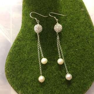925 純銀 珍珠耳環