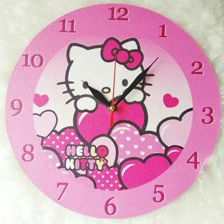 Jam dinding kayu hello kitty