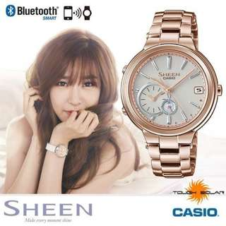 only hk$1699, 100% new CASIO SHEEN SHB-200CG-9A 玫瑰金框藍芽時尚腕錶/白面35mm手錶,