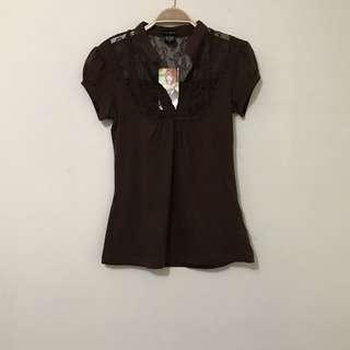全新美國購入布蕾絲包袖襯衫上衣