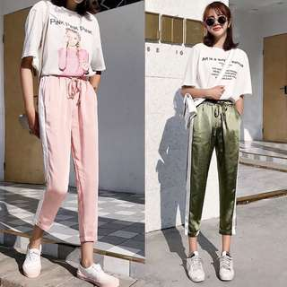 (S~2XL) Nine pants pink side loose satin Devon pants casual pants elastic waist straight trousers