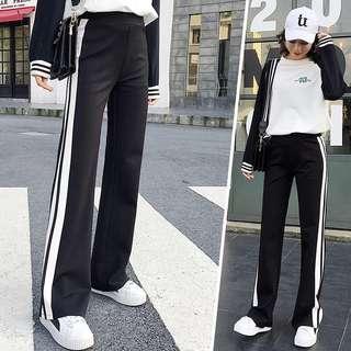 (S~4XL) Casual pants spring new Korean loose straight pants white striped pants long pants