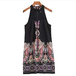民族風 波西米亞 顯瘦拍照特别好看A字版型歐美印花連身裙