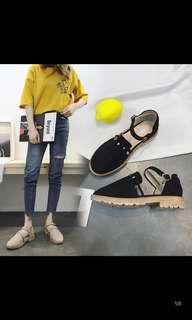 Korean Word buckle chic retro soft shoes