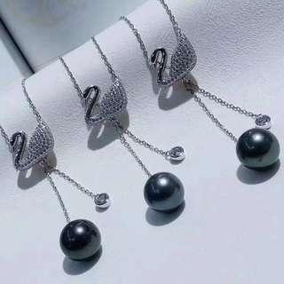 秒殺價不議!10/11天然大溪地黑珍珠純銀吊墜🌈 毛衣鏈 long chain necklace