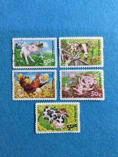 2005 Australia Farm Animals Short Set of 5 Values Used