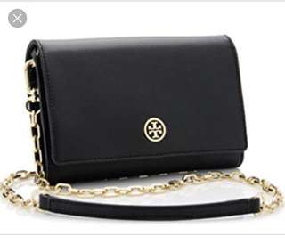 Authentic Tory Burch Robinson wallet on a chain