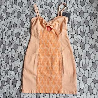 Orange ribbon bodycon dress