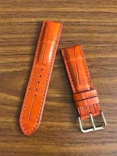 22mm/20mm Sunrise Hermes Orange Brown Crocodile Watch Strap