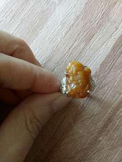 🚚 天然翡翠黃翡貔貅戒指