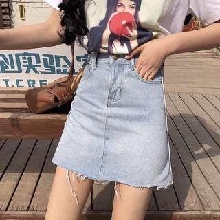 牛仔設計條線半身裙高腰裙