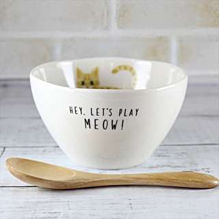(預購)日本品牌-Meow!Meow!-湯碗/瓷碗含木湯匙-碗老虎貓/灰貓/玳瑁貓/白色黑貓