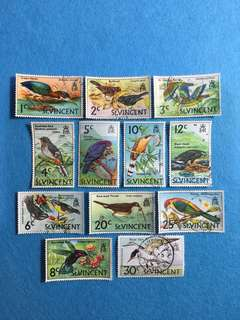 1970 St Vincent Birds Series 12 Values Used Short Set